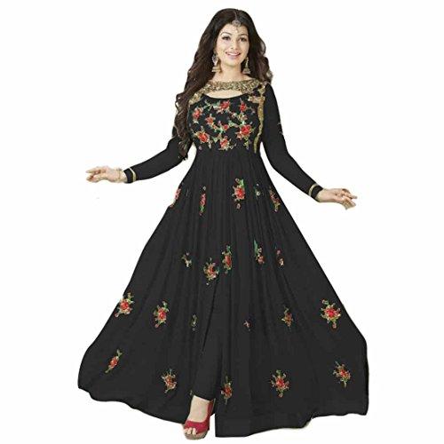 Generic Women's Georgette Anarkali Salwar Suit Set (Er_Abc10212_Georgette Black Georgette_Free Size)