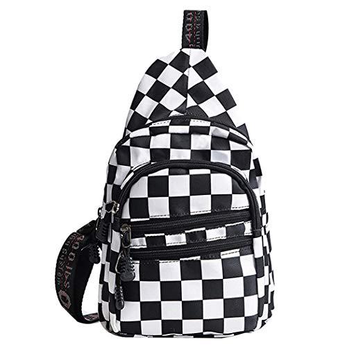 Van Caro Damen canvas umhängetasche, brusttasche sport/reisen/einkaufen-schulter-rucksäcke One Size Schwarz and Weiß (Vans Rucksack Mädchen)