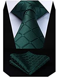 f64d2b2b89c5e HISDERN Check Wedding Tie Handkerchief Men's Necktie & Pocket Square Set