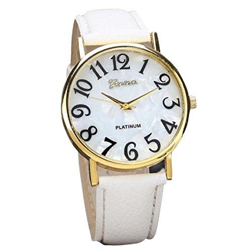 donne retrò orologio, FEITONG orologio digitali quadrante in pelle banda quarzo orologi analogici da polso (bianca)