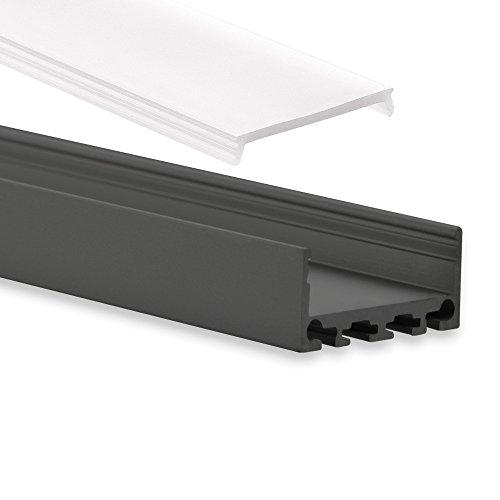 PN4 Cursa C10 LED Profil Schwarz Pulverbeschichtigt Aluminium Profil f. LED Streifen LED Profil 2m + Abdeckung Opal Aluprofil