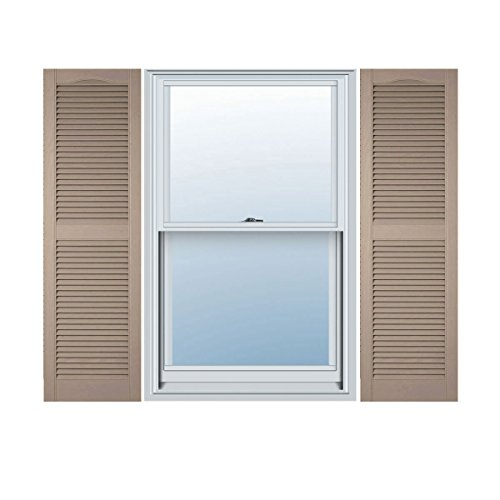 Ekena Millwork LL1S14X06000WI Lifetime Vinyl, Standard Cathedral Top Center Mullion, Open Louver Shutters with Shutter-Loks (Per Pair), Wicker, 14 1/2W x 60H by Ekena Millwork