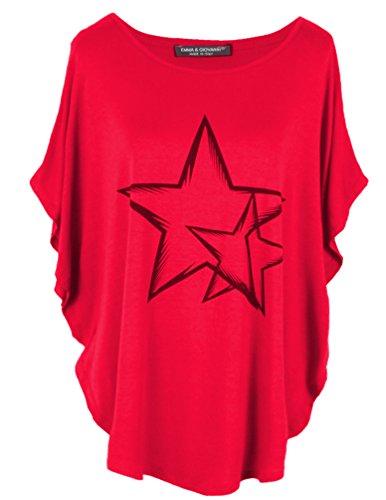 Emma & Giovanni Kimono T-Shirt/Oberteile Kurzarm Elegant - Damen (Rot, S/M)