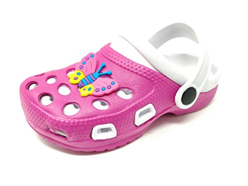 Childrens/Kids/Boys/Girls/Infant Holiday/Summer/Garden/Pool Clogs/Mules/Sandals/Shoes/Butterfly or Motorbike Charm/Good Size (11 Child UK, Pink/White/Butterfly)