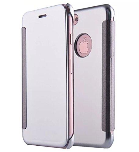 iPhone 7 Coque cas de secousse Pacyer® Housse protection Clip translucide Protection Case pour Apple iPhone 7 flip cover view Case PC Cover Argent