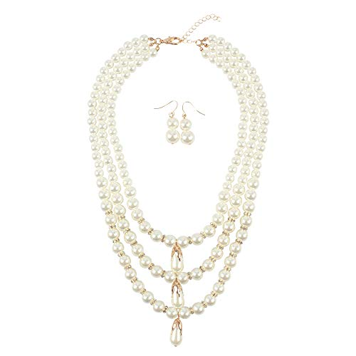 Person Einfach Kostüm Alte - Perlenkette Oval Anhänger 3 Schicht Lange Perlenkette Damen Abendessen Kostüm Zubehör