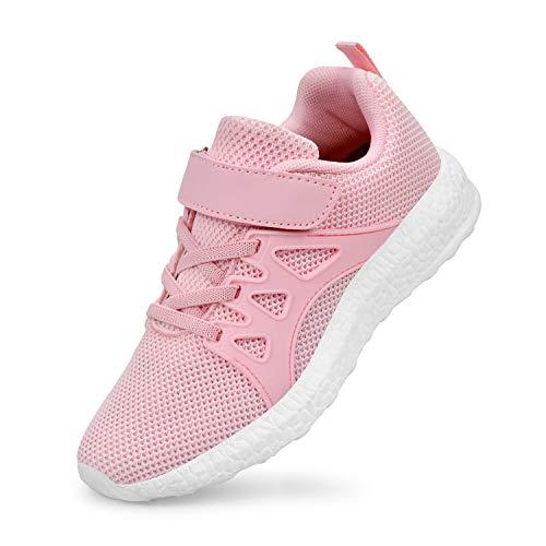 QANSI Kinder Sportschuhe Mädchen Junge Atmungsaktiv Sneaker Laufschuhe- 30 EU (Etikettgröße: 31), Rosa