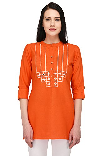 Pistaa women's Embroidered Cotton Short Top Kurti with Plus size (Orange, 42...