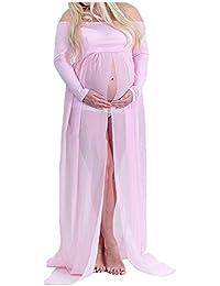 Mujer Embarazada Gasa Larga Vestido de maternidad Split Vista delantera foto Shoot Dress Faldas fotográficas de