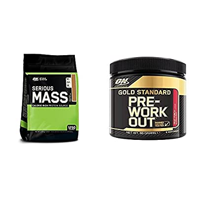 Optimum Nutrition Serious Mass Weight Gain Powder, 5.44 kg - Chocolate Peanut Butter + Pre-Workout - 88g, Fruit Punch