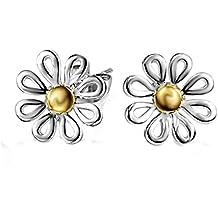Hosaire Pendientes de plata la forma del crisantemo tamaño 15X15mm pendientes de botón nuevo estilo para mujeres de la joyería accesorios