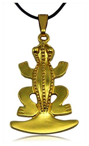 Anhänger précolombien Frosch tairona Basisstation und Leder. Anhänger den Reliefs-Qualität muséale. 24K vergoldet. Anbieter des Museum der Gold von Bogota. -