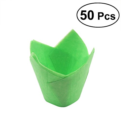 BESTOYARD 50Pcs Cupcake Wrappers Liners Tulip Shape Muffin Cases Cake Cup Party Favors (Green)