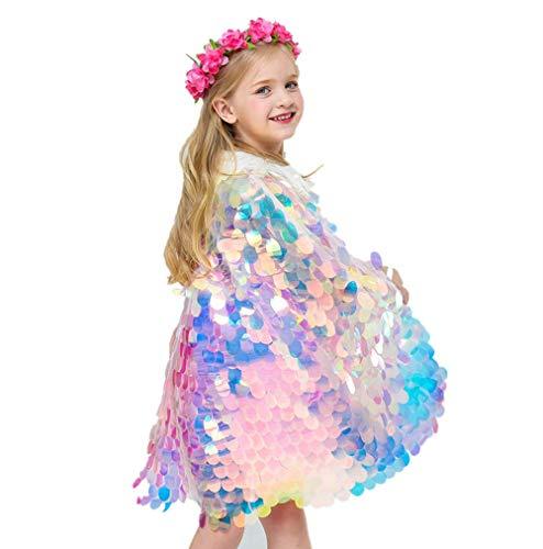 Yibaision Umhang Mädchen Meerjungfrau Kostüm Bunte Pailletten Umhang Cape Kinder Halloween Meerjungfrau Kostüm Mermaid Umhan Prinzessin Süß (Halloween-kostüm Kinder Für Meerjungfrau)