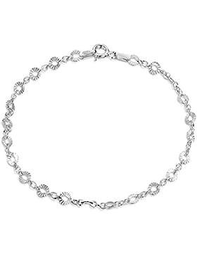 Amberta 925 Sterlingsilber Armkette - Erbskette mit Scheibe Armband - 1.5 mm Breite - Verschiedene Längen: 18...