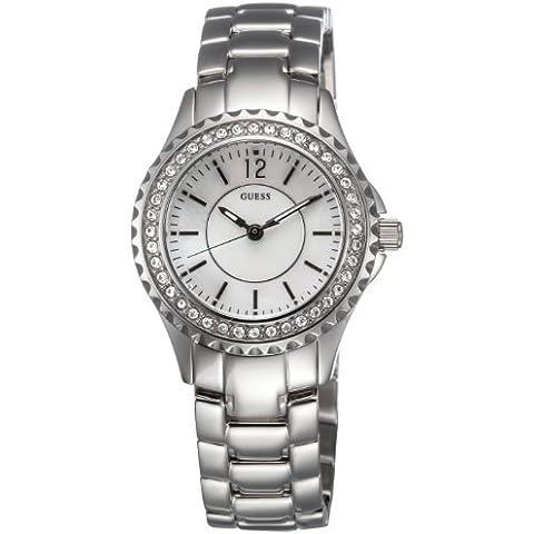 Guess Sport Steel - Reloj analógico de mujer de cuarzo con correa de acero inoxidable plateada - sumergible a 30
