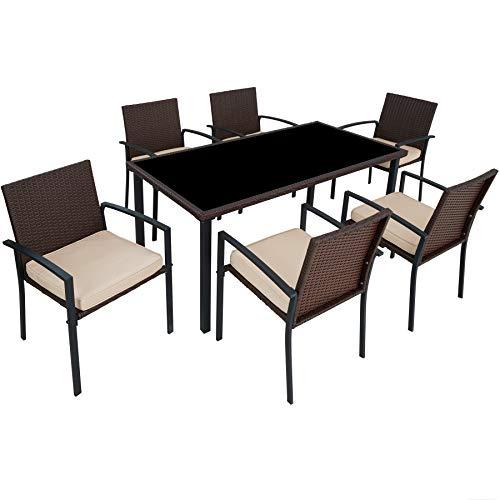 tectake 800663 Salon de Jardin 6 Chaises 1 Table en Résine Tressée - diverses Couleurs - (Marron | No. 403028)