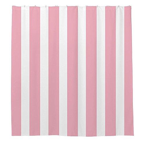 Rose Floral Cotton Fabric (Rosa Weiß Streifen Muster Duschvorhang 180x 180cm)
