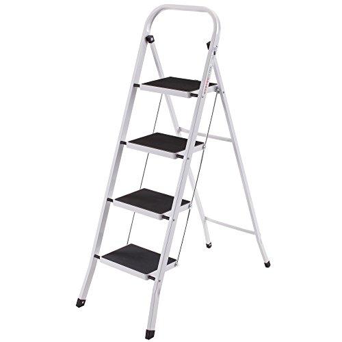 VonHaus Schwerlast Klappbare Transportfähige 4 Stufen Stehleiter Leiter Stahl