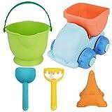 Zhhlaixing Giocattoli Di Sabbia Beach Toys Sandbox Set for Baby Kids Beach Molds(shovel,rake,truck,water Bucket) 5 PCS Sand Table Play Set Halloween Christmas Gift