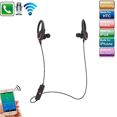 Auriculares inalámbricos Bluetooth con micrófono, auriculares con gancho para la oreja que cancelan el ruido, auriculares estéreo elecfan HD Auriculares resistentes al sudor para iPhones, teléfonos Android y otros dispositivos habilitados para Bluetooth , Hot Pink
