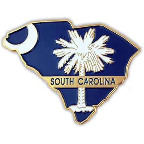 Forma de estado de Carolina del Sur y SC Bandera Pin de solapa