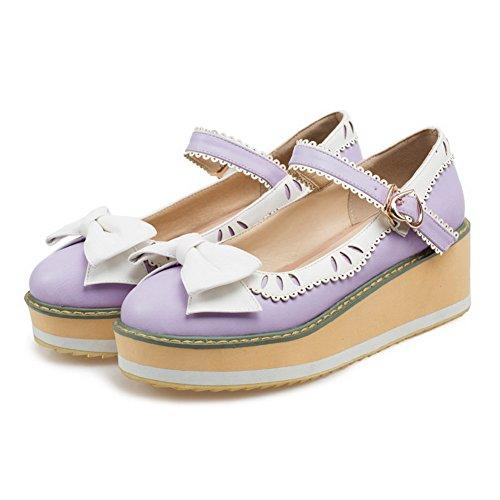 AgooLar Damen Pu Leder Mittler Absatz Rund Zehe Gemischte Farbe Schnalle Pumps Schuhe Lila