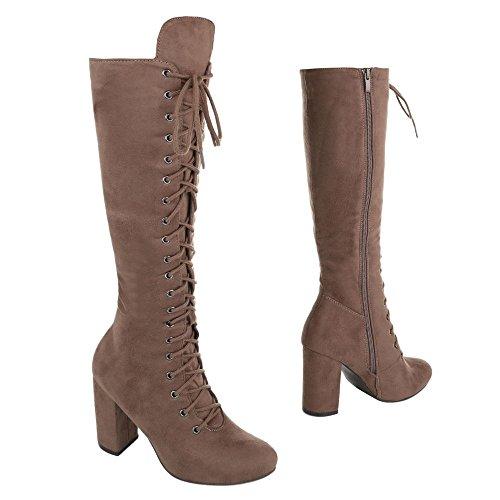 High Heel Stiefel Damenschuhe Klassischer Stiefel Pump Schnürer Reißverschluss Ital-Design Stiefel Hellbraun