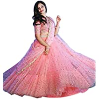 KAZIRA Women's Peach Color Bangalori Silk Lehenga Choli