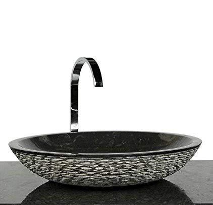 wohnfreuden Marmor Aufsatzwaschbecken LEMPER 50 cm schwarz rund außen gehämmert innen poliert ✓ Handwaschbecken Steinwaschschale Naturstein-Aufsatzwaschbecken für Bad Gäste WC