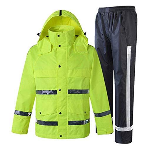 LULUDP //Gilet di sicurezza del Lavoro Impermeabile Giacca e Pantaloni Antipioggia, Poncho Riflettente Impermeabile con Cappuccio Impermeabile, Giubbotti Riflettenti Verdi Giubbotti di Sicurezza