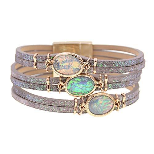 MHOOOA Armband Armreif Lederarmbänder rund Stein böhmischen Charme Armbänder für Frauen Schmuck - Armreif Purple Jade