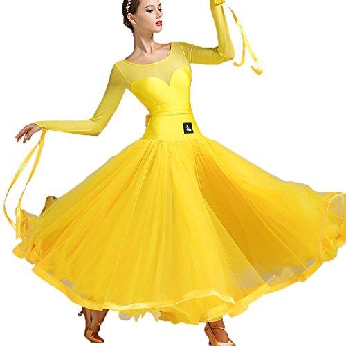 Ballsaal Tanzübungskleider Klassisch Einfach Gitter Stitching Modernes Performances Kostüm Walzer Tango Foxtrott Big Swing Kleid,Yellow,XXL ()