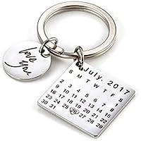 onlylove-handmade Fecha y Mensaje Grabados Personalizados Personalizados Calendario y Llavero de Acero Inoxidable Recuerdo conmemorativo