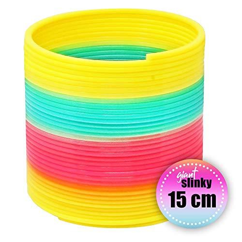 g mit 1 Riesenplastik Regenbogen Slinky - EIN lustiges Spirale Spielzeug für Kinder - treppenläufer Spiel Geschenk, damit Kinder glücklich und beschäftigt bleiben ()