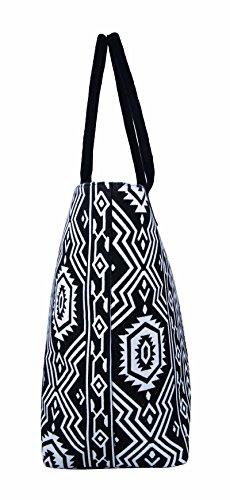 Borse per la spesa in tela,borse ideali per la spiaggia, borsa a tracolla per vacanza, stile shopping, 17stampa floreale per estate, design grazioso, a pois, da parete fiore, tinta unita, colore: bl Black Aztec