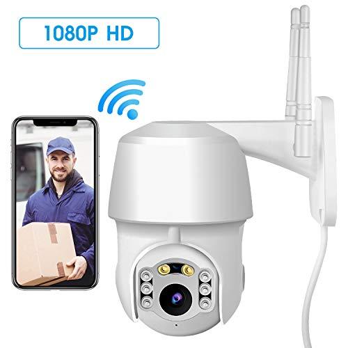 ÜberwachungsKamera WLAN IP Kamera, HD 1080P Zweiwege-Audio Aussen, PTZ 355° Schwenkbar WiFi Cam, 20m IR-Nachtsich, IP65 wasserfest, Bewegungsmelder, Unterstützung von Mobile App Kontrolle