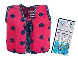 Lampiphant Konfidence Kinder-Schwimmweste aus Neopren, Edition mit Plitsch-Platsch-Fibel, 1,5-3 Jahre, Blaue Punkte auf Pink