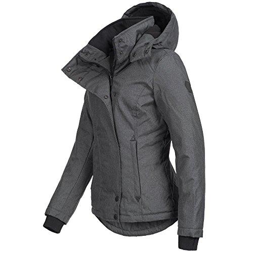 Azuonda Damen Jacke Winterjacke Parka Winter warm gefüttert XS-XXL AZ35, Farbe:Dunkelgrau, Größe:XS / 34 - 2
