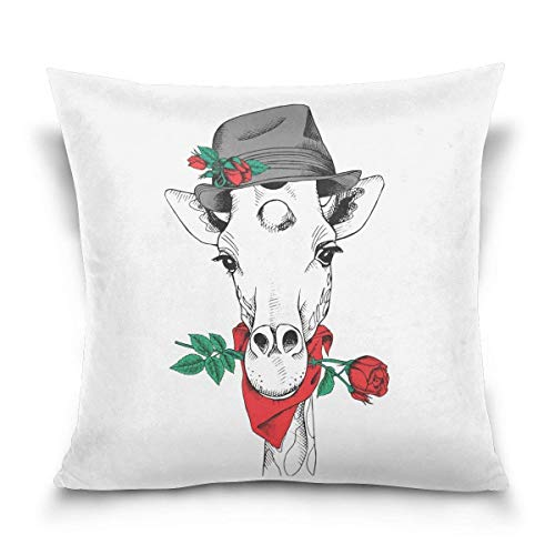 Klotr federe cuscino divano, giraffe elegant hat red rose decorative square throw pillow case cushion cover for sofa bedroom car double-sided design 18 x 18 inch