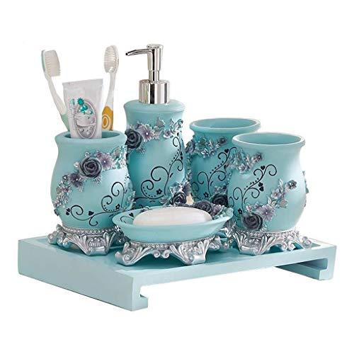 Xinxinchaoshi Seifenkiste Lotion Flasche Zahnbürste Cup Tray Kombination Haushalt Badezimmer Wash Set sechsteilige Stereo Carving dekorative Seifenspender (blau) -