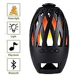 RQINW LED-Nachttischlampe Flammenlautsprecher, hervorragender Bassklang, tragbare Flicker-Flammenlampe, 2 in 1 Atmosphärenlicht Drahtloser Bluetooth-Lautsprecher