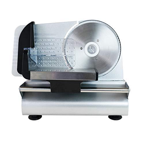 Gaone Brotschneidemaschine Allesschneider Elektrisch Verstellbar Compact Meat Slicer Mit Abnehmbarem Edelstahl Gezackten Blatt Precision Fleisch Deli Käse-Frucht-Gemüse-Brot Aufschnittmaschine,220V