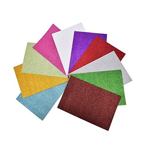 FADACAI 10 Stücke EVA-Schaum Blätter A4 Büttenpapier Spaß Kinder Handwerk Geschenk, 27,5 * 20 cm (Multicolor Glitter Handwerk)