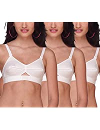 2c51132f301 Sona Women s Moving Cotton Strap White Full Cup Plus Size Cotton Bra Pack  of 3