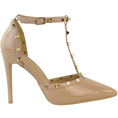 donna borchiato Basse TACCHI STILETTO PICCOLO Sandali caviglia con spalline di marca Scarpe Numeri color carne VERNICE/borchie dorato