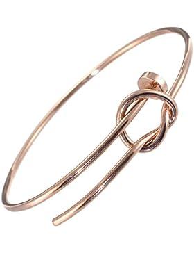 Edelstahl Kollektion: Große Rose Gold Knoten Armreif (U30)