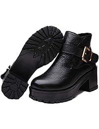 95f4efb423f Black Sugar Bottes Bottines Cuir solide lourd noir talon ville chaussure  femme type low boots
