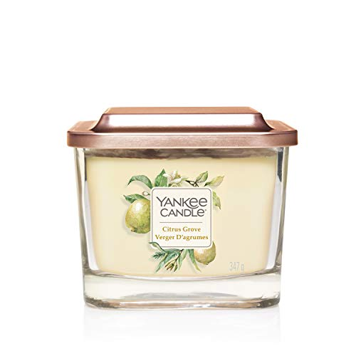 Yankee Candle Yankee Candle Elevation Collection with Platform Lid Medium 3-Wick Square Scented Candle, Citrus Grove