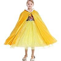 Princesa de las muchachas del traje de Capa, Disfraz danza con capucha capa de terciopelo princesa del Cabo en smurf,Amarillo,L